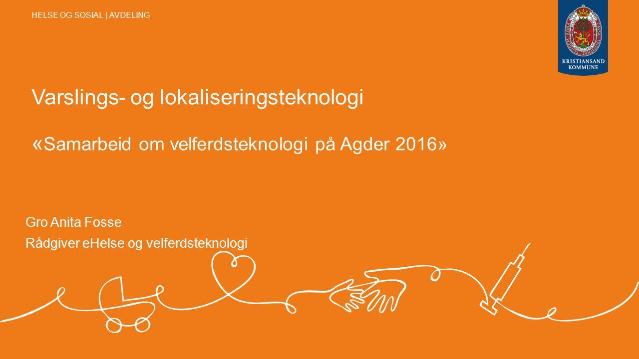 Varslings- og lokaliseringsteknologi « Samarbeid om velferdsteknologi på Agder 2016» Gro Anita Fosse Rådgiver eHelse og velferdsteknologi HELSE OG SOSIAL | AVDELING