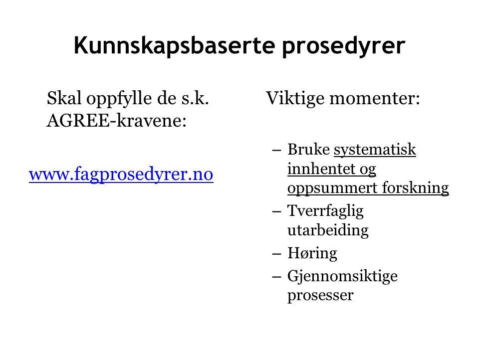 Kunnskapsbaserte prosedyrer Skal oppfylle de s.k.