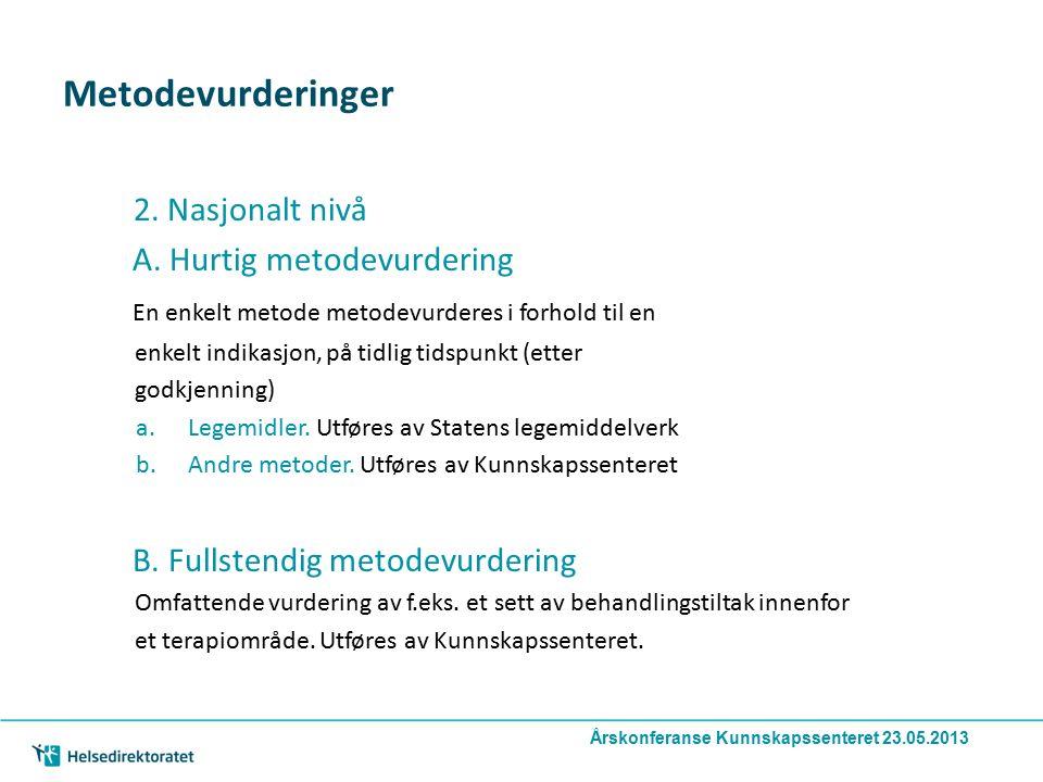 Metodevurderinger 2. Nasjonalt nivå A. Hurtig metodevurdering En enkelt metode metodevurderes i forhold til en enkelt indikasjon, på tidlig tidspunkt