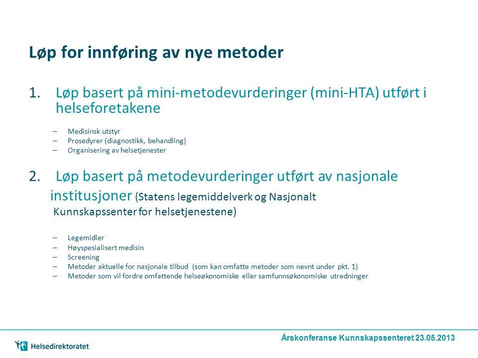 Løp for innføring av nye metoder 1.Løp basert på mini-metodevurderinger (mini-HTA) utført i helseforetakene – Medisinsk utstyr – Prosedyrer (diagnosti