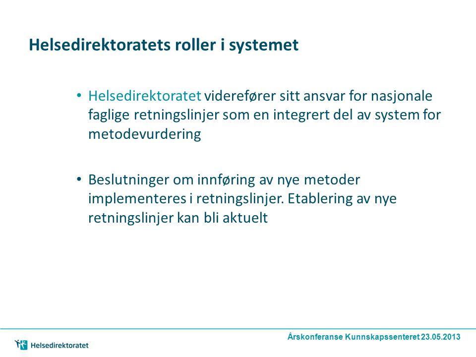 Årskonferanse Kunnskapssenteret 23.05.2013 Helsedirektoratets roller i systemet Helsedirektoratet viderefører sitt ansvar for nasjonale faglige retningslinjer som en integrert del av system for metodevurdering Beslutninger om innføring av nye metoder implementeres i retningslinjer.