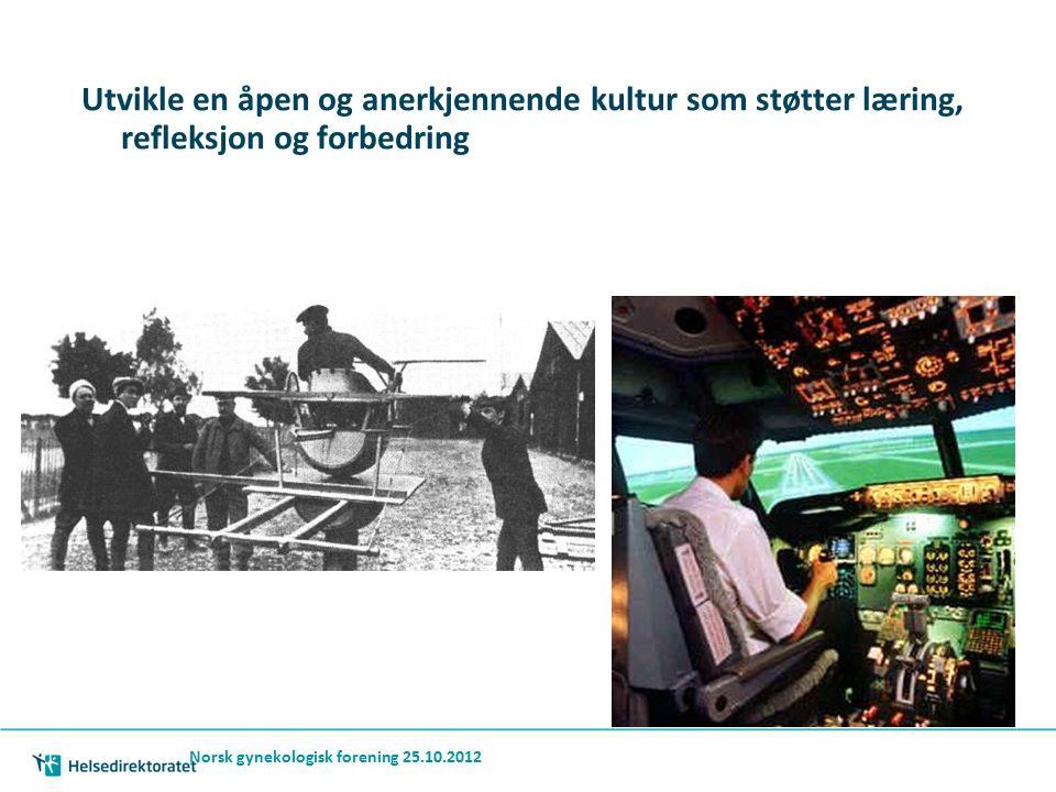 Norsk gynekologisk forening 25.10.2012 Utvikle en åpen og anerkjennende kultur som støtter læring, refleksjon og forbedring