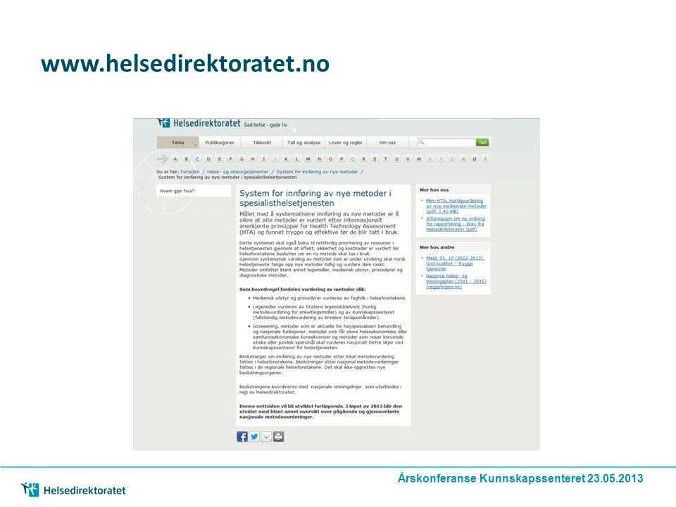 www.helsedirektoratet.no Årskonferanse Kunnskapssenteret 23.05.2013
