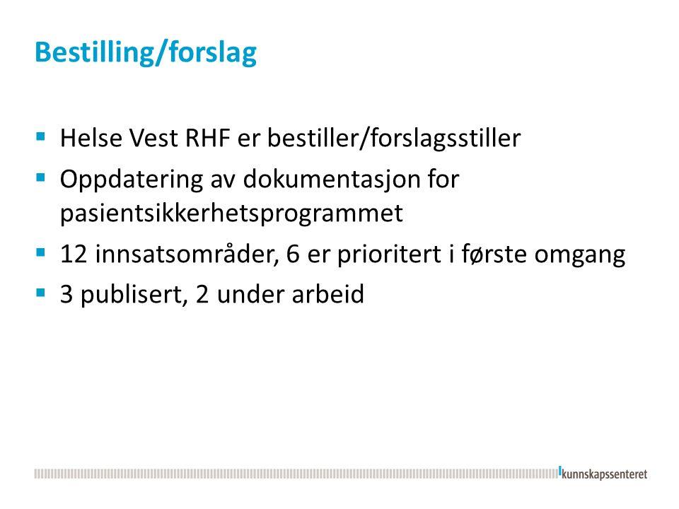 Bestilling/forslag  Helse Vest RHF er bestiller/forslagsstiller  Oppdatering av dokumentasjon for pasientsikkerhetsprogrammet  12 innsatsområder, 6 er prioritert i første omgang  3 publisert, 2 under arbeid