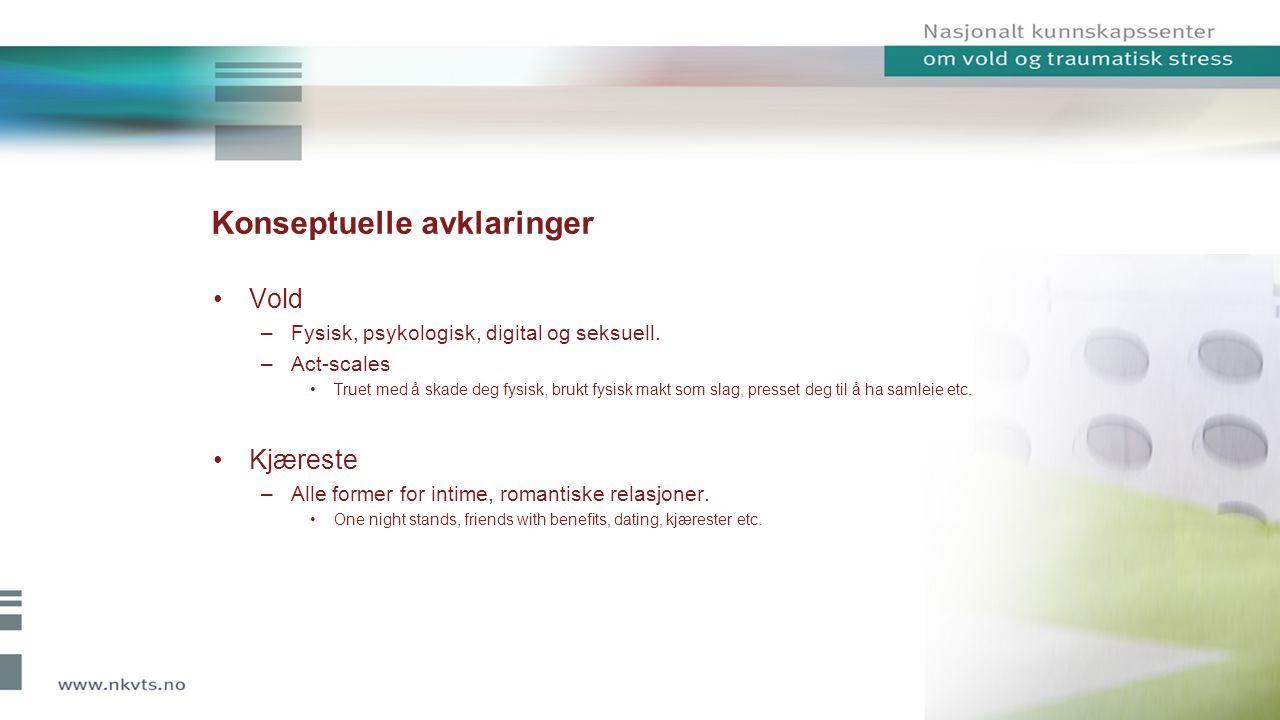Konseptuelle avklaringer Vold –Fysisk, psykologisk, digital og seksuell.