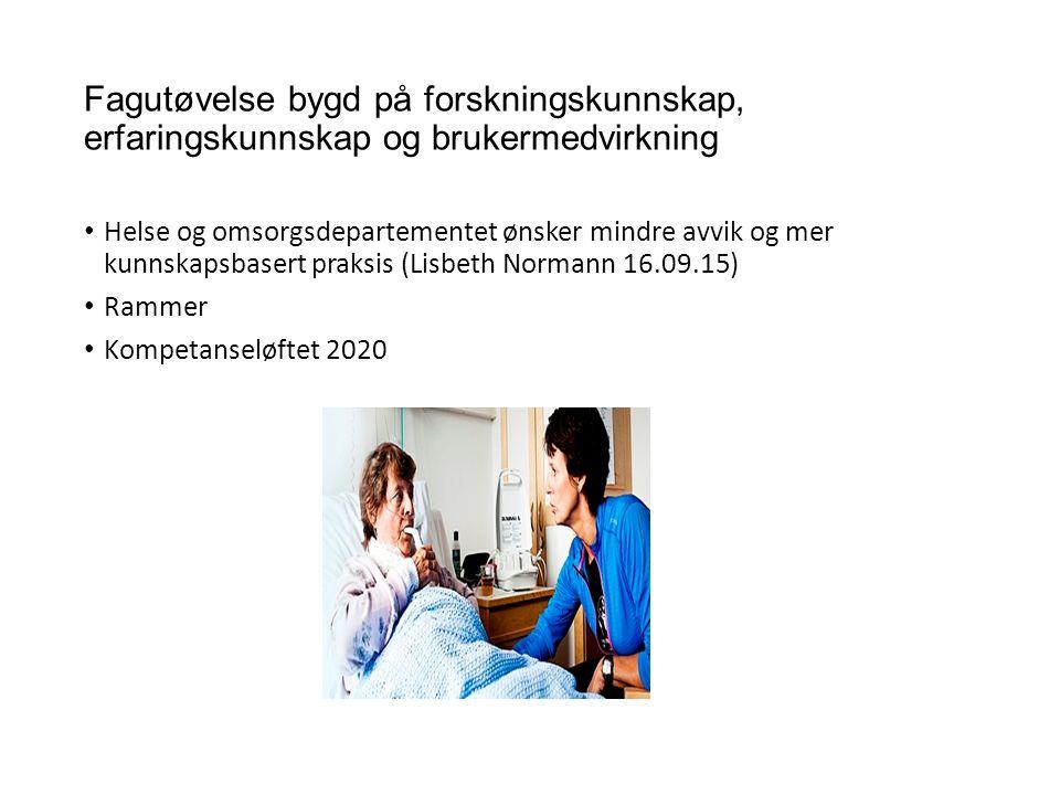 Fagutøvelse bygd på forskningskunnskap, erfaringskunnskap og brukermedvirkning Helse og omsorgsdepartementet ønsker mindre avvik og mer kunnskapsbasert praksis (Lisbeth Normann 16.09.15) Rammer Kompetanseløftet 2020
