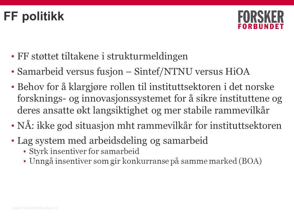 FF politikk FF støttet tiltakene i strukturmeldingen Samarbeid versus fusjon – Sintef/NTNU versus HiOA Behov for å klargjøre rollen til instituttsekto