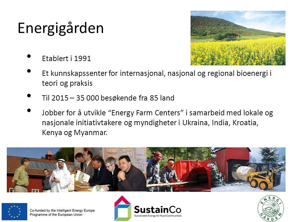 Energigården Etablert i 1991 Et kunnskapssenter for internasjonal, nasjonal og regional bioenergi i teori og praksis Til 2015 – 35 000 besøkende fra 85 land Jobber for å utvikle Energy Farm Centers i samarbeid med lokale og nasjonale initiativtakere og myndigheter i Ukraina, India, Kroatia, Kenya og Myanmar.