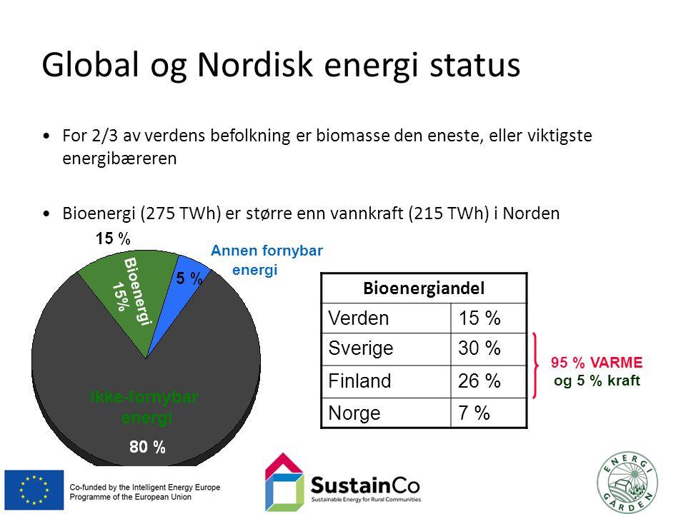 Annen fornybar energi Bioenergi 15% Ikke-fornybar energiBioenergiandelVerden 15 % Sverige 30 % Finland 26 % Norge 7 % 95 % VARME og 5 % kraft Global og Nordisk energi status For 2/3 av verdens befolkning er biomasse den eneste, eller viktigste energibæreren Bioenergi (275 TWh) er større enn vannkraft (215 TWh) i Norden