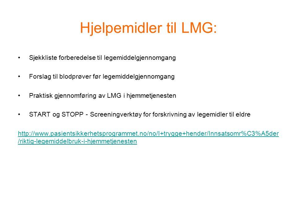 Hjelpemidler til LMG: Sjekkliste forberedelse til legemiddelgjennomgang Forslag til blodprøver før legemiddelgjennomgang Praktisk gjennomføring av LMG i hjemmetjenesten START og STOPP - Screeningverktøy for forskrivning av legemidler til eldre http://www.pasientsikkerhetsprogrammet.no/no/I+trygge+hender/Innsatsomr%C3%A5der /riktig-legemiddelbruk-i-hjemmetjenesten