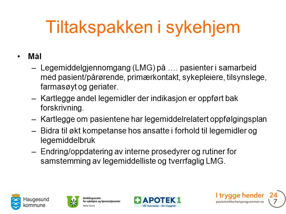 Tiltakspakken i sykehjem Mål –Legemiddelgjennomgang (LMG) på ….