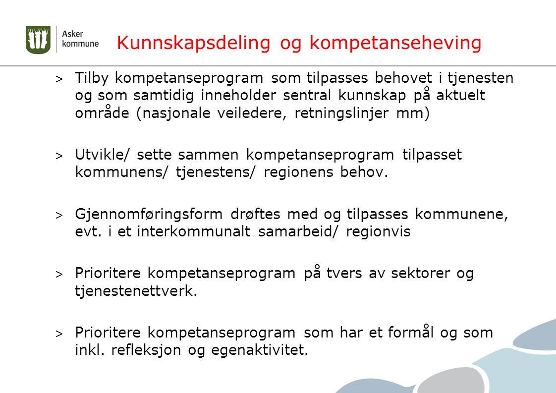 Kunnskapsdeling og kompetanseheving > Tilby kompetanseprogram som tilpasses behovet i tjenesten og som samtidig inneholder sentral kunnskap på aktuelt område (nasjonale veiledere, retningslinjer mm) > Utvikle/ sette sammen kompetanseprogram tilpasset kommunens/ tjenestens/ regionens behov.