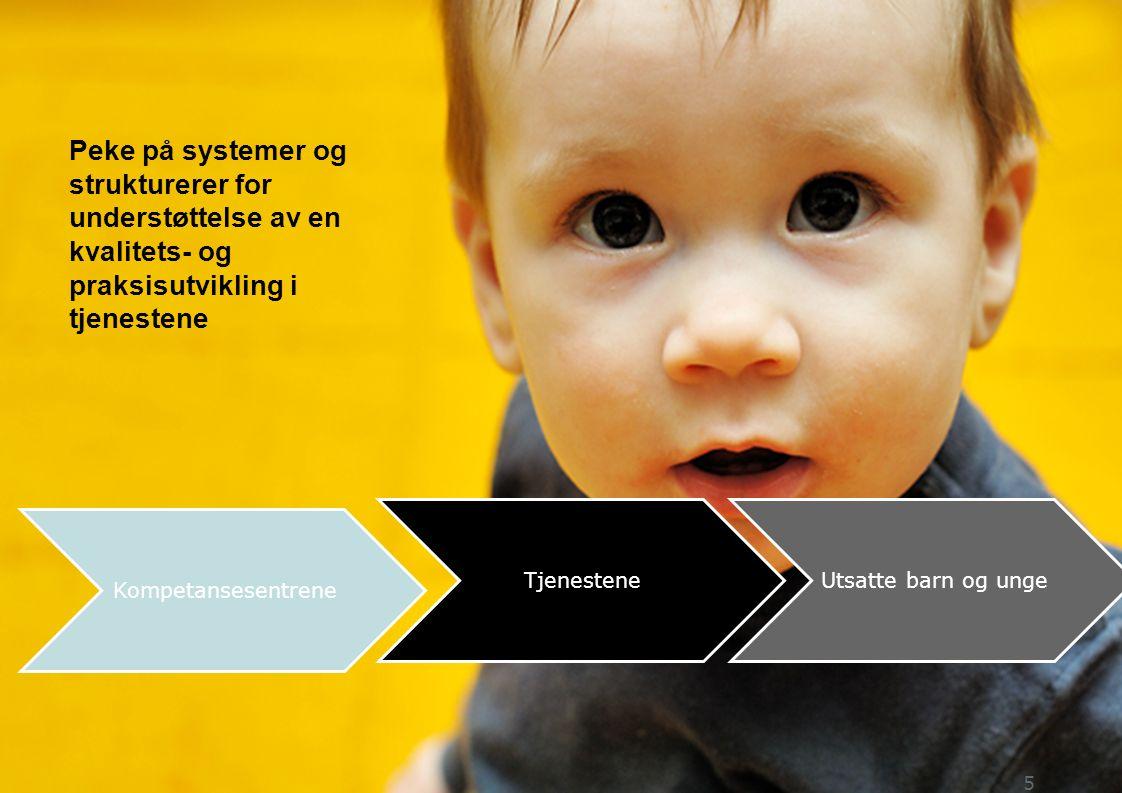 Kompetansesentrene TjenesteneUtsatte barn og unge 5 Peke på systemer og strukturerer for understøttelse av en kvalitets- og praksisutvikling i tjenestene