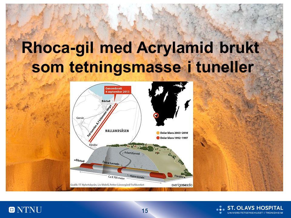 15 Rhoca-gil med Acrylamid brukt som tetningsmasse i tuneller