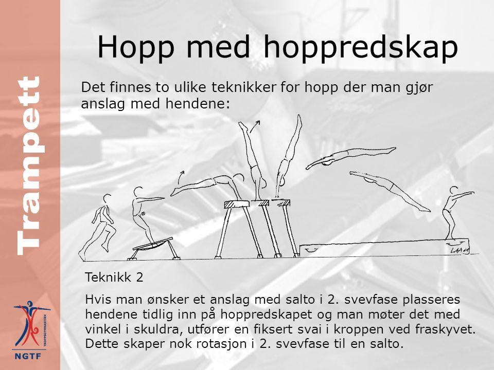 Hopp med hoppredskap Det finnes to ulike teknikker for hopp der man gjør anslag med hendene: Teknikk 1 Dersom man ønsker å arbeide kun med overslag eller overslag med skru, er det greit å bruke en teknikk som skaper mindre rotasjonsimpuls i fraskyvet.
