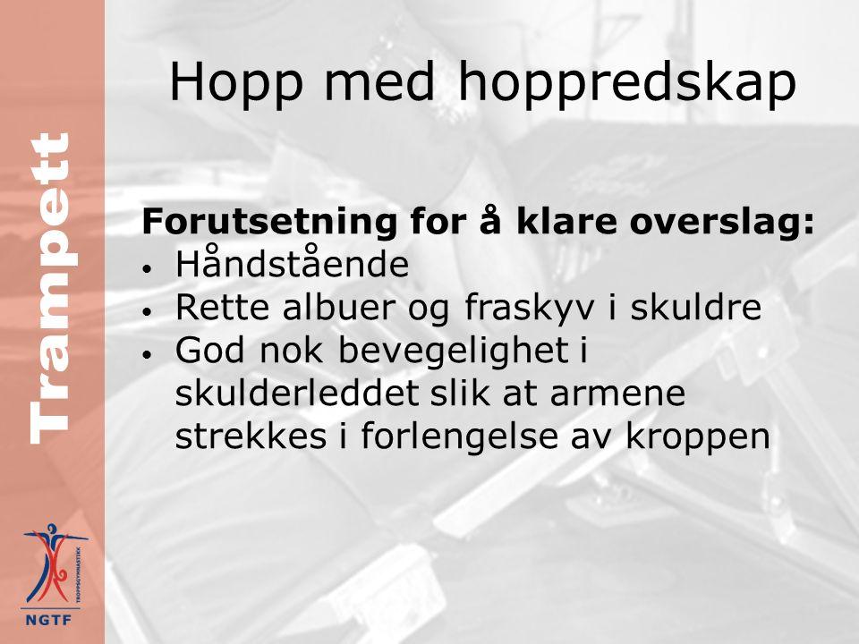 Hopp med hoppredskap Teknikk 2 Hvis man ønsker et anslag med salto i 2.