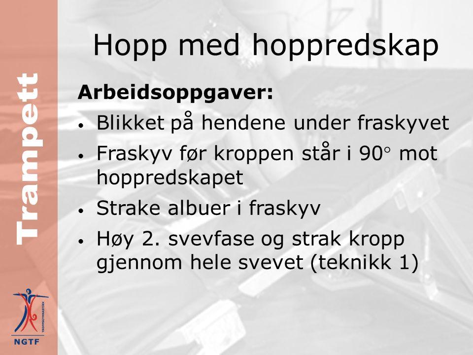 Hopp med hoppredskap Arbeidsoppgaver: Lavt og langt innhopp på trampetten Lav 1.