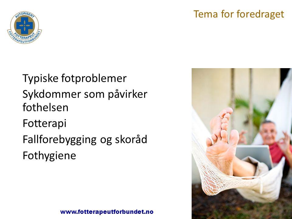 Typiske fotproblemer Sykdommer som påvirker fothelsen Fotterapi Fallforebygging og skoråd Fothygiene Tema for foredraget www.fotterapeutforbundet.no