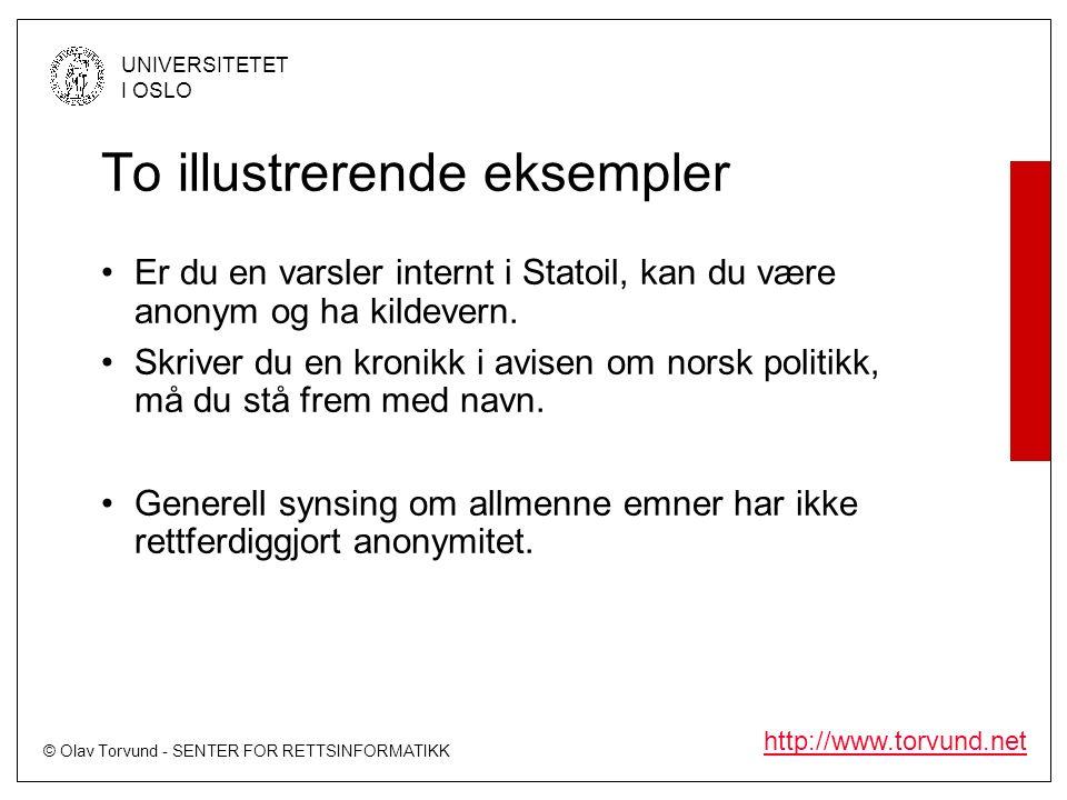 © Olav Torvund - SENTER FOR RETTSINFORMATIKK UNIVERSITETET I OSLO http://www.torvund.net To illustrerende eksempler Er du en varsler internt i Statoil, kan du være anonym og ha kildevern.