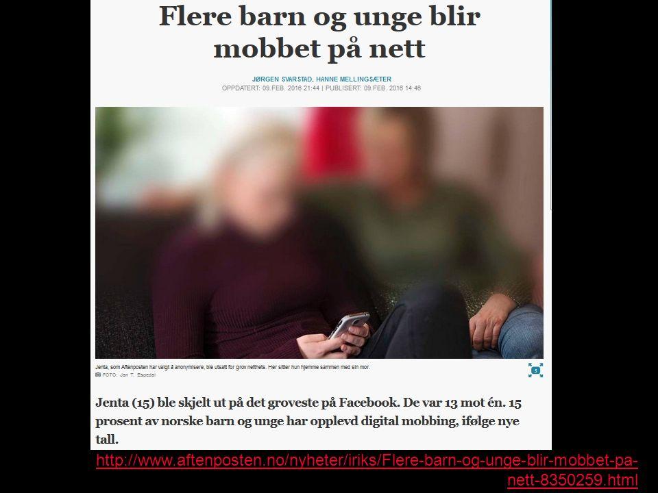 http://www.aftenposten.no/nyheter/iriks/Flere-barn-og-unge-blir-mobbet-pa- nett-8350259.html