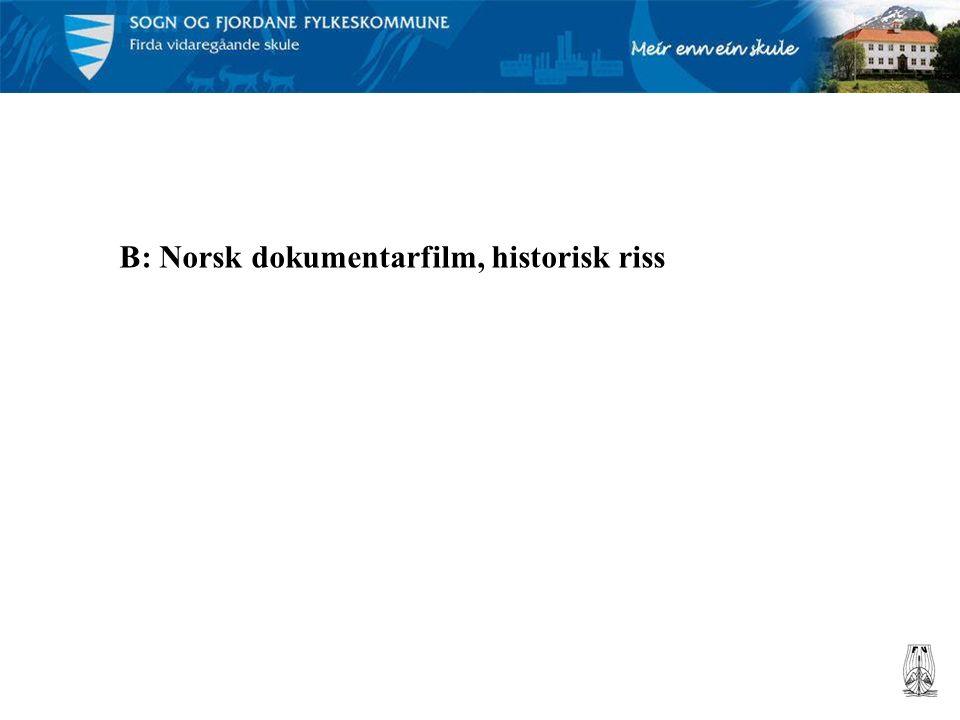B: Norsk dokumentarfilm, historisk riss