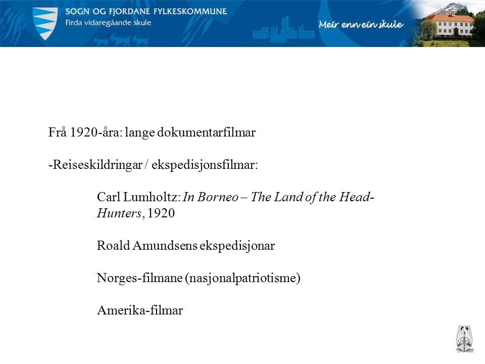 Frå 1920-åra: lange dokumentarfilmar -Reiseskildringar / ekspedisjonsfilmar: Carl Lumholtz: In Borneo – The Land of the Head- Hunters, 1920 Roald Amundsens ekspedisjonar Norges-filmane (nasjonalpatriotisme) Amerika-filmar