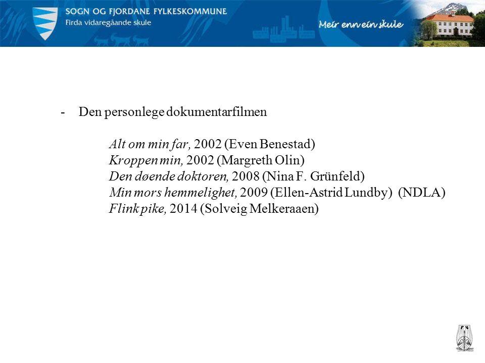 -Den personlege dokumentarfilmen Alt om min far, 2002 (Even Benestad) Kroppen min, 2002 (Margreth Olin) Den døende doktoren, 2008 (Nina F.