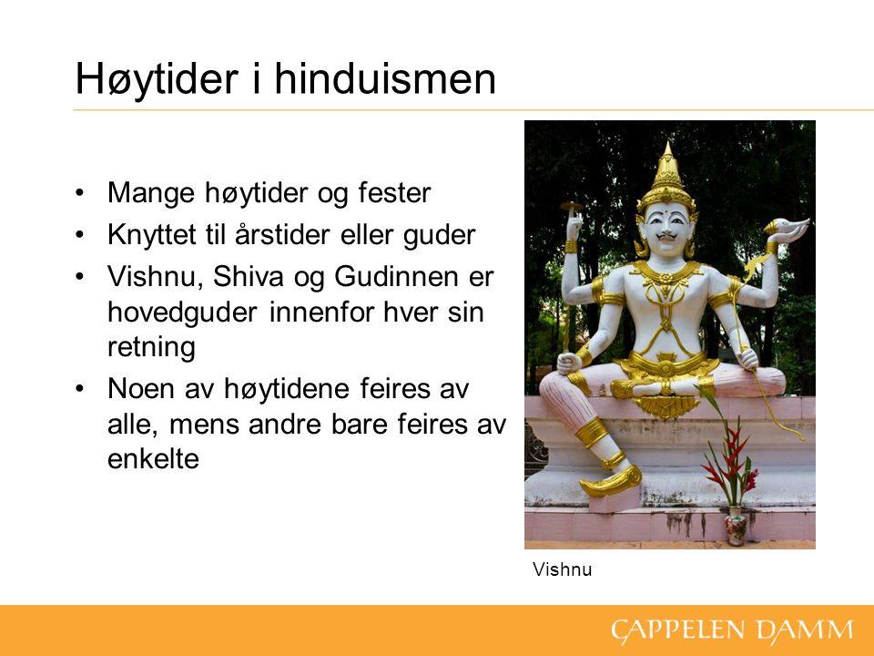 Høytider i hinduismen Mange høytider og fester Knyttet til årstider eller guder Vishnu, Shiva og Gudinnen er hovedguder innenfor hver sin retning Noen av høytidene feires av alle, mens andre bare feires av enkelte Vishnu