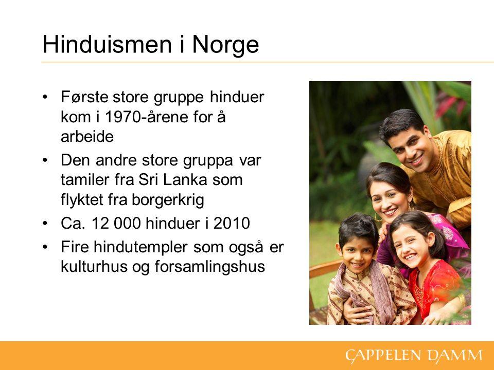 Hinduismen i Norge Første store gruppe hinduer kom i 1970-årene for å arbeide Den andre store gruppa var tamiler fra Sri Lanka som flyktet fra borgerkrig Ca.