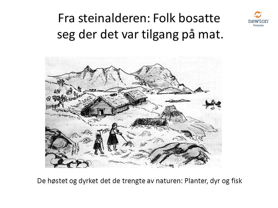 De høstet og dyrket det de trengte av naturen: Planter, dyr og fisk Fra steinalderen: Folk bosatte seg der det var tilgang på mat.