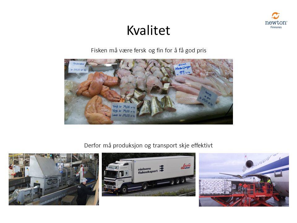 Kvalitet Fisken må være fersk og fin for å få god pris Derfor må produksjon og transport skje effektivt