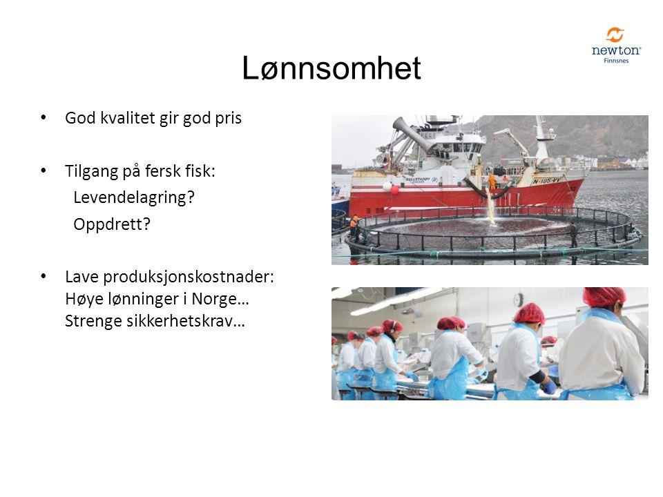 Lønnsomhet God kvalitet gir god pris Tilgang på fersk fisk: Levendelagring? Oppdrett? Lave produksjonskostnader: Høye lønninger i Norge… Strenge sikke