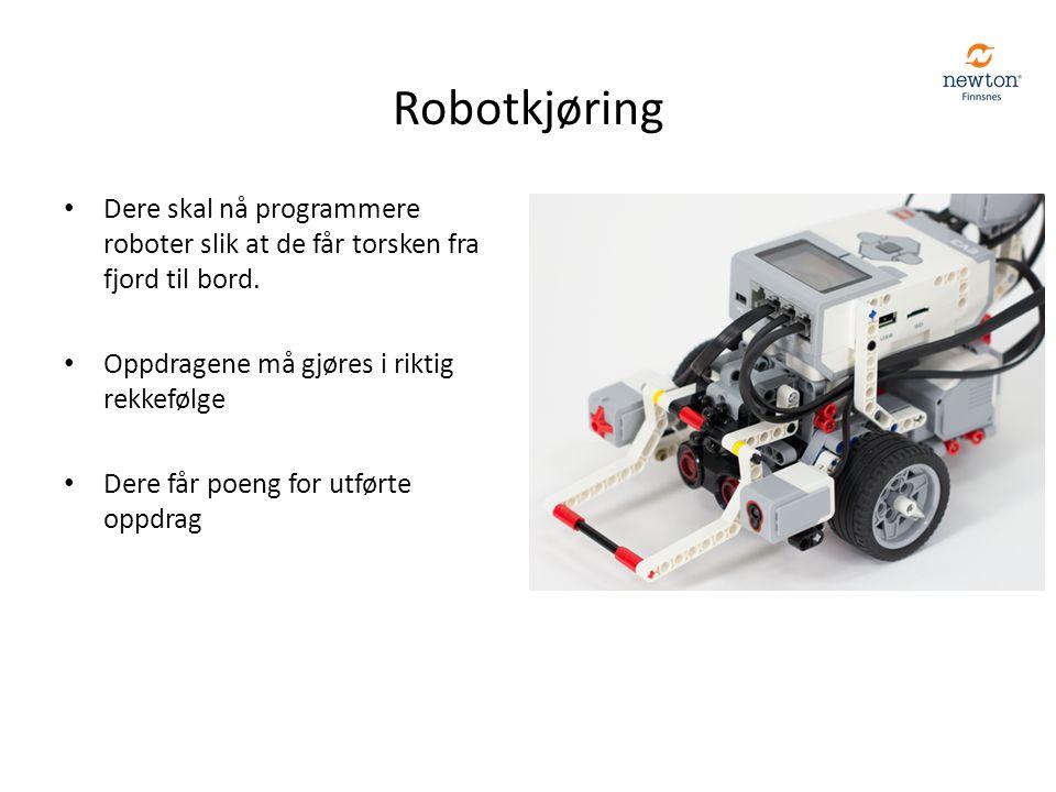 Robotkjøring Dere skal nå programmere roboter slik at de får torsken fra fjord til bord. Oppdragene må gjøres i riktig rekkefølge Dere får poeng for u