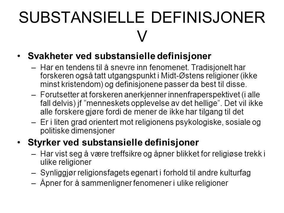 SUBSTANSIELLE DEFINISJONER V Svakheter ved substansielle definisjoner –Har en tendens til å snevre inn fenomenet.