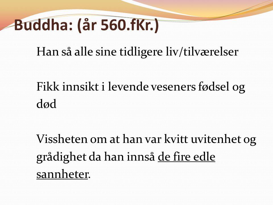 Buddha: (år 560.fKr.) Han så alle sine tidligere liv/tilværelser Fikk innsikt i levende veseners fødsel og død Vissheten om at han var kvitt uvitenhet og grådighet da han innså de fire edle sannheter.