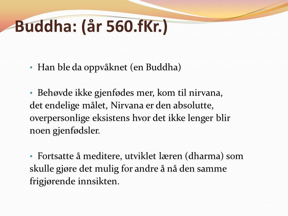 Buddha: (år 560.fKr.) Han ble da oppvåknet (en Buddha) Behøvde ikke gjenfødes mer, kom til nirvana, det endelige målet, Nirvana er den absolutte, overpersonlige eksistens hvor det ikke lenger blir noen gjenfødsler.