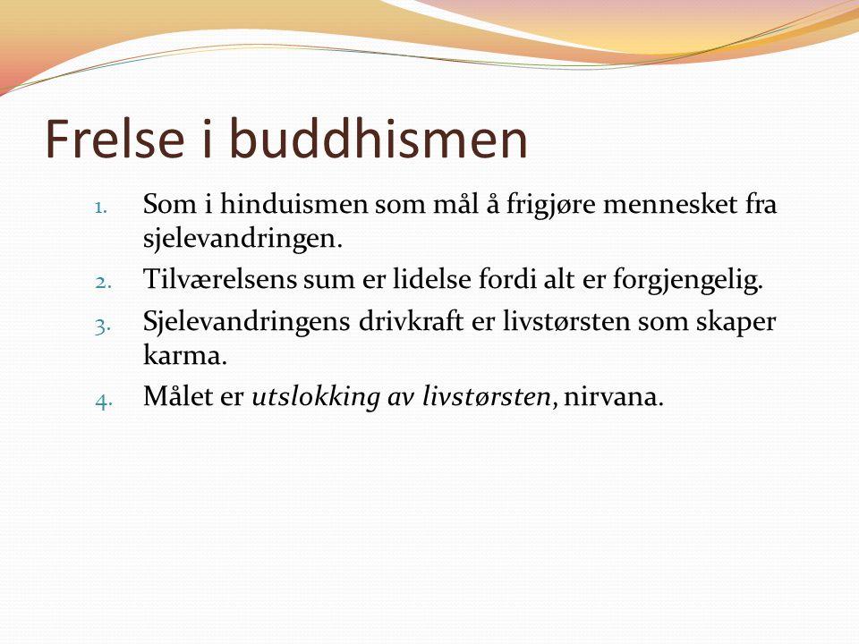 Frelse i buddhismen 1.Som i hinduismen som mål å frigjøre mennesket fra sjelevandringen.