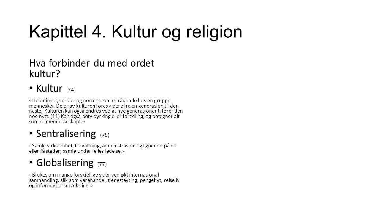 Kapittel 4. Kultur og religion Hva forbinder du med ordet kultur.