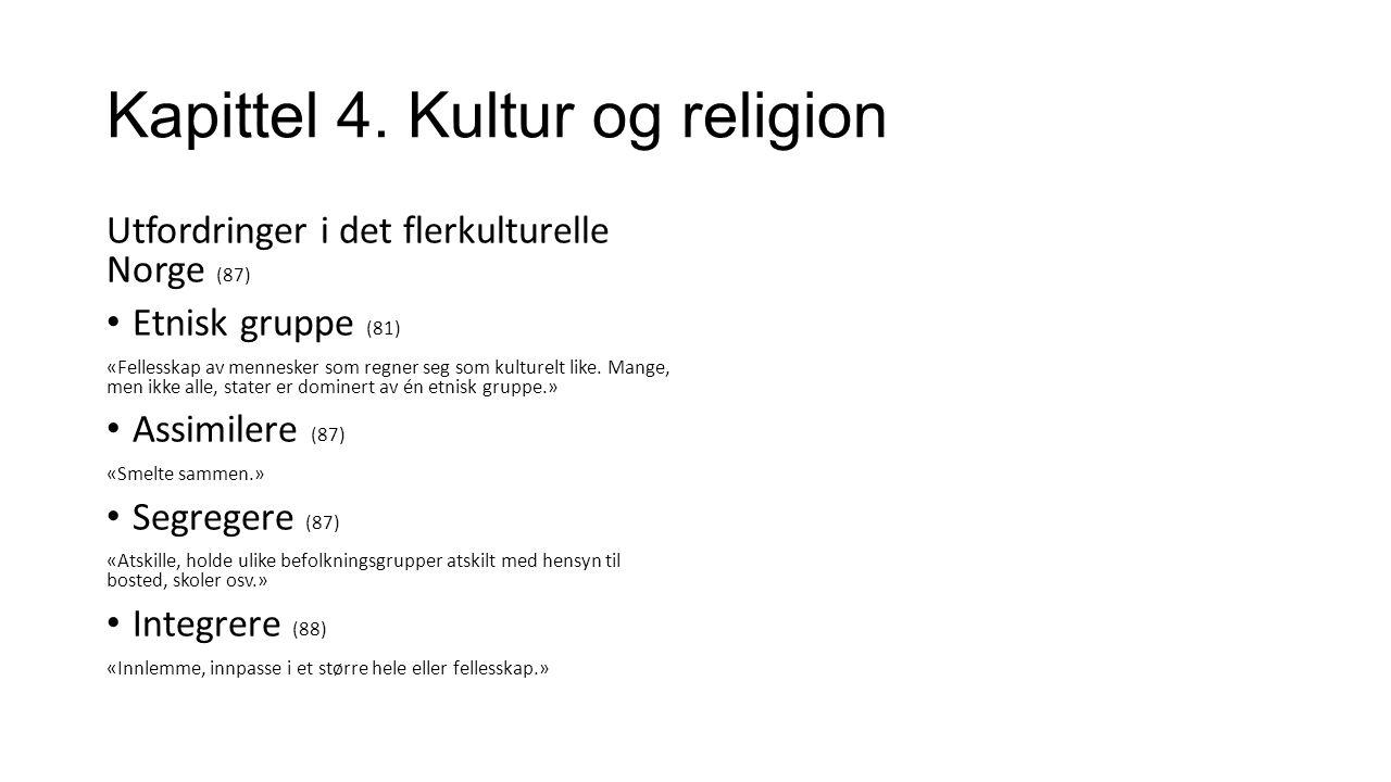 Kapittel 4.Kultur og religion Hva kan du selv gjøre for å motarbeide fremmedfrykt og rasisme.