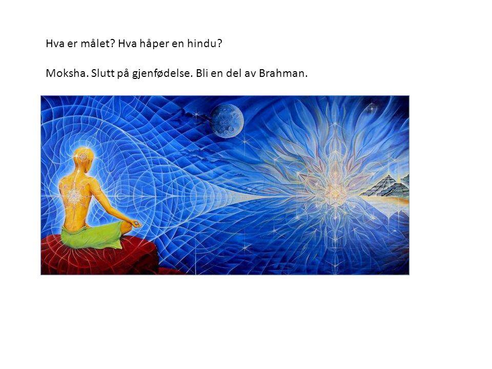 Hva er målet Hva håper en hindu Moksha. Slutt på gjenfødelse. Bli en del av Brahman.