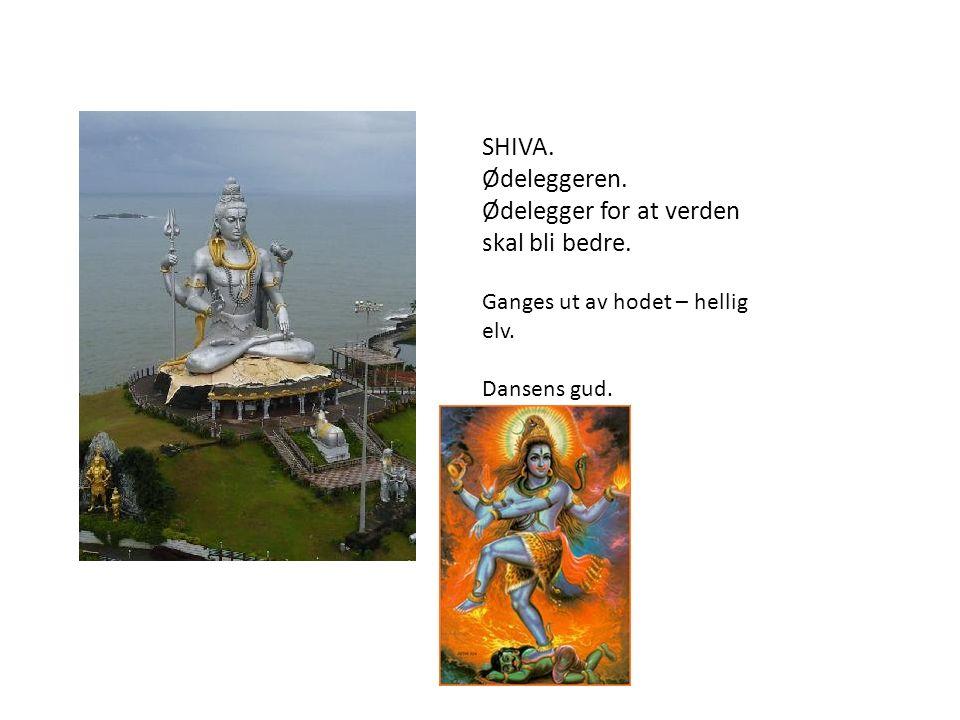 SHIVA. Ødeleggeren. Ødelegger for at verden skal bli bedre. Ganges ut av hodet – hellig elv. Dansens gud.