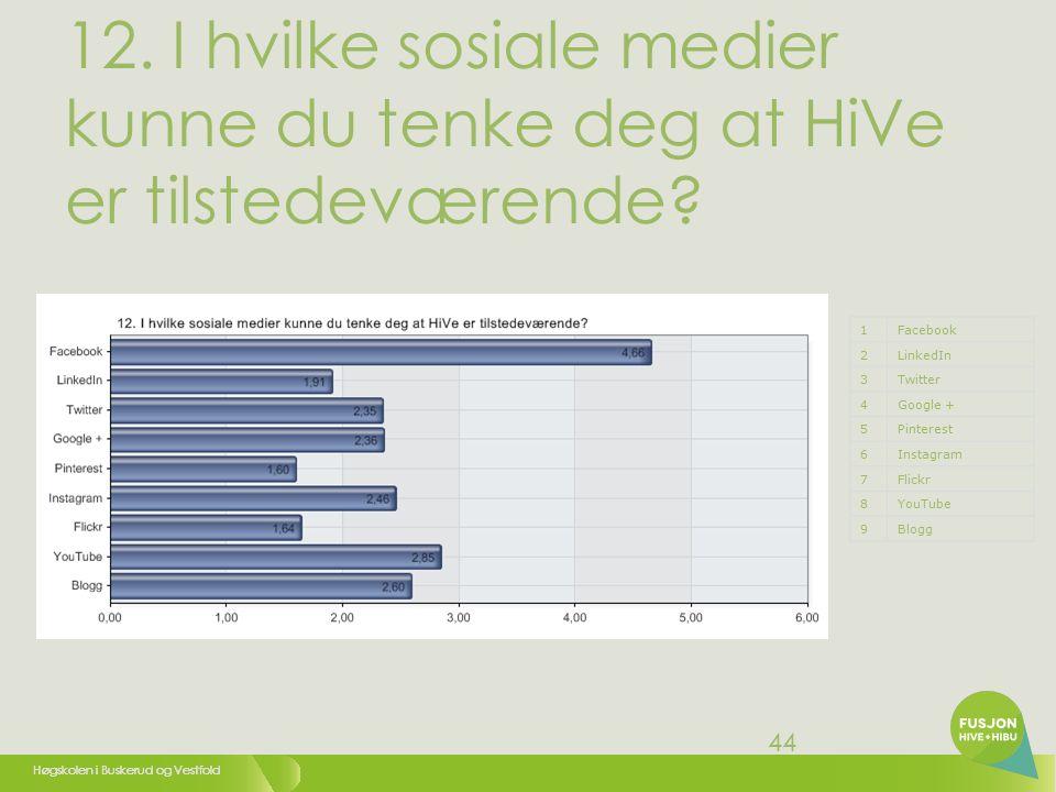 Høgskolen i Buskerud og Vestfold 45 12.1 Facebook 1Meget liten grad (1) 22 33 44 55 6Meget stor grad (6)