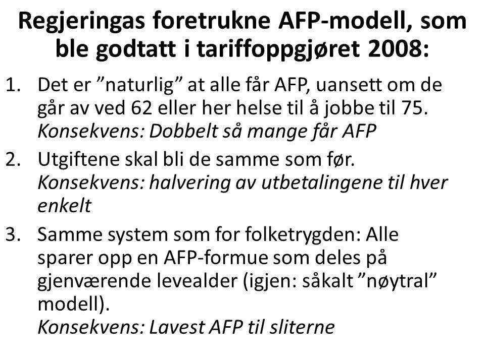 Regjeringas foretrukne AFP-modell, som ble godtatt i tariffoppgjøret 2008: 1.Det er naturlig at alle får AFP, uansett om de går av ved 62 eller her helse til å jobbe til 75.
