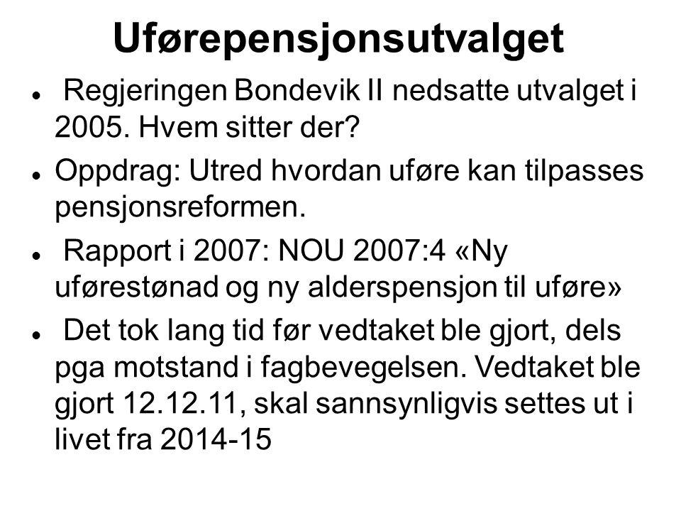Uførepensjonsutvalget Regjeringen Bondevik II nedsatte utvalget i 2005.