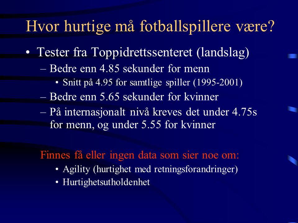 Hurtighet (SL x SF) TEKNIKK STYRKE RFD / EKSPLOSIVITET ENERGIFRIGJØRINGYTRE FORHOLD BEVEGELIGHET Prestasjonsbestemmende faktorer