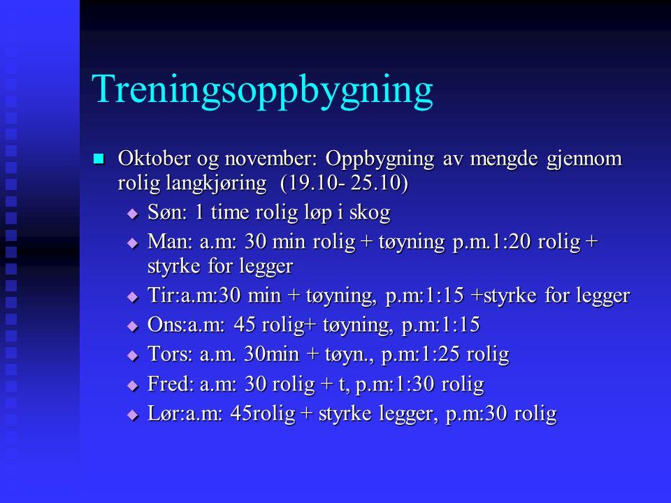 Treningsoppbygning Oktober og november: Oppbygning av mengde gjennom rolig langkjøring (19.10- 25.10) Oktober og november: Oppbygning av mengde gjennom rolig langkjøring (19.10- 25.10)  Søn: 1 time rolig løp i skog  Man: a.m: 30 min rolig + tøyning p.m.1:20 rolig + styrke for legger  Tir:a.m:30 min + tøyning, p.m:1:15 +styrke for legger  Ons:a.m: 45 rolig+ tøyning, p.m:1:15  Tors: a.m.