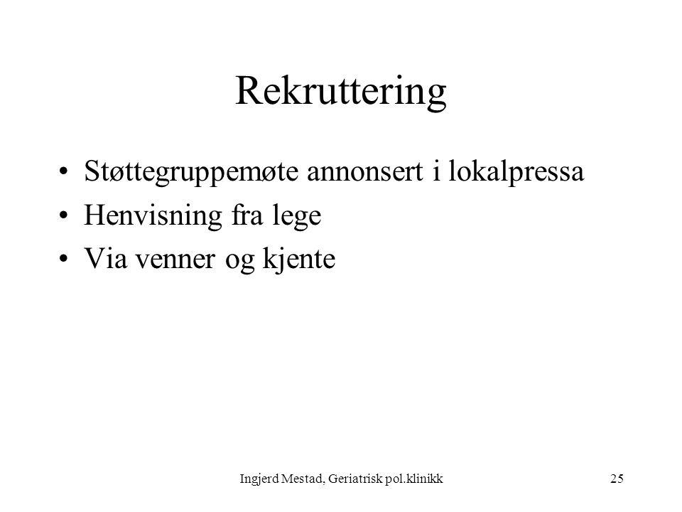 Ingjerd Mestad, Geriatrisk pol.klinikk25 Rekruttering Støttegruppemøte annonsert i lokalpressa Henvisning fra lege Via venner og kjente