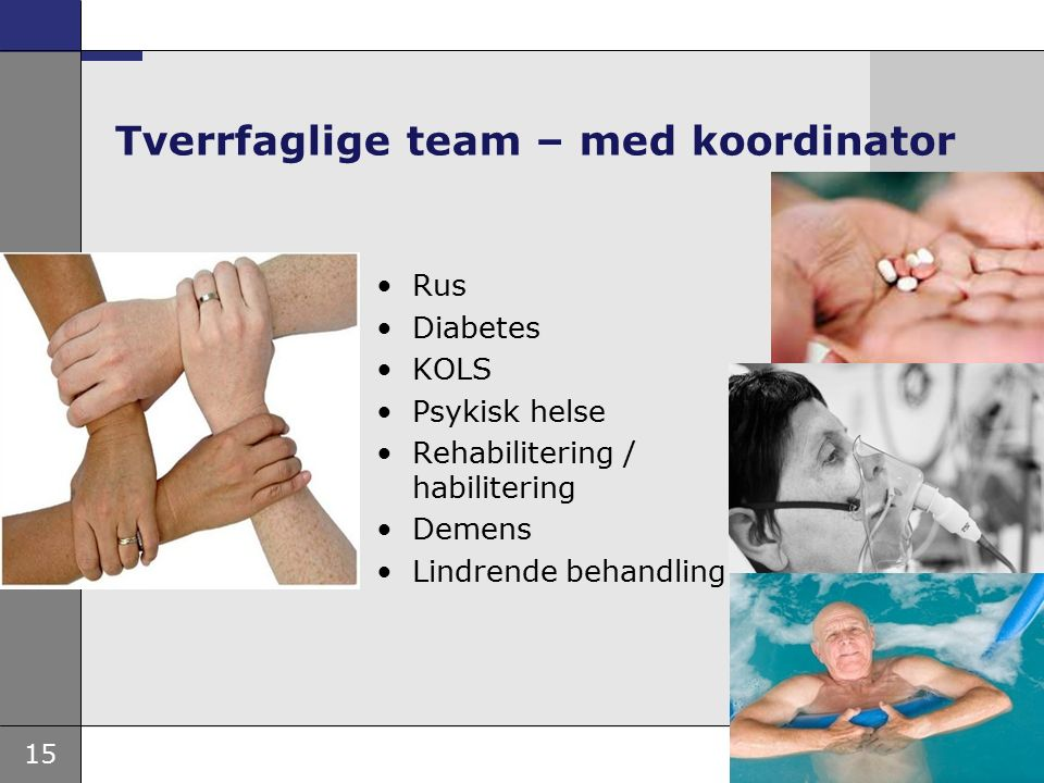 15 Tverrfaglige team – med koordinator Rus Diabetes KOLS Psykisk helse Rehabilitering / habilitering Demens Lindrende behandling