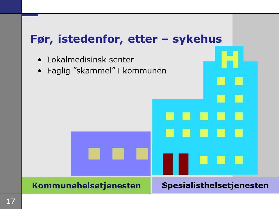 17 Kommunehelsetjenesten Før, istedenfor, etter – sykehus Lokalmedisinsk senter Faglig skammel i kommunen Spesialisthelsetjenesten