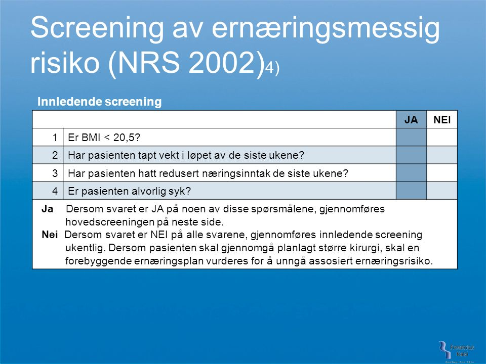 Screening av ernæringsmessig risiko (NRS 2002) 4) Innledende screening JANEI 1Er BMI < 20,5.